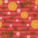 Безшовная картина рождества с апельсинами, циннамоном и анисовкой бесплатная иллюстрация