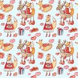 Безшовная картина рождества с лисами и северными оленями на голубой предпосылке иллюстрация штока
