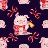 Безшовная картина рождества с милой свиньей стоковые изображения rf