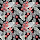 Безшовная картина рождества с падубом, листьями и ягодами бесплатная иллюстрация