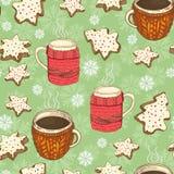 Безшовная картина рождества с чашками, печеньями и снежинками иллюстрация вектора