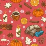 Безшовная картина рождества с чашками, цитрусом, снежинками и шотландками бесплатная иллюстрация