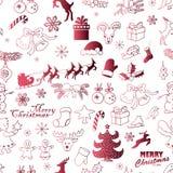 Безшовная картина рождества на белой предпосылке Иллюстрация эскиза чертежа руки вектора Стоковое фото RF