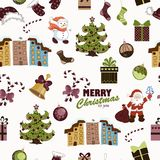 Безшовная картина рождества на белой предпосылке Стоковые Фотографии RF