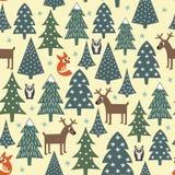 Безшовная картина рождества - разнообразные деревья, дома, лисы, сычи и олени Xmas Стоковое Изображение RF