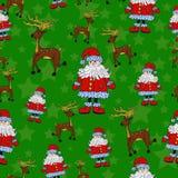 Безшовная картина рождества с Сантой, северным оленем и звездами Иллюстрация штока