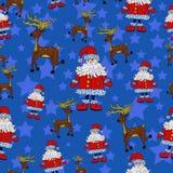 Безшовная картина рождества с Сантой, северным оленем и звездами Бесплатная Иллюстрация