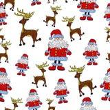 Безшовная картина рождества с Сантой, северным оленем и звездами Иллюстрация вектора