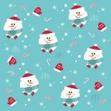 Безшовная картина рождества с снеговиками на голубой предпосылке Стоковая Фотография RF