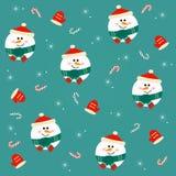 Безшовная картина рождества с снеговиками на зеленой предпосылке Стоковая Фотография RF