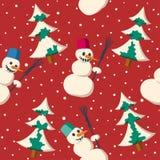 Безшовная картина рождества с снеговиком Стоковые Фотографии RF