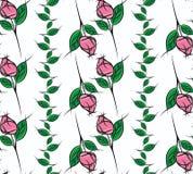Безшовная картина розовых & листвы Стоковая Фотография