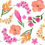 Безшовная картина розовых и желтых цветков на белой предпосылке Стоковое фото RF