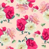 Безшовная картина розовых цветков Стоковые Фотографии RF