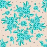 Безшовная картина, розы бирюзы на бежевой предпосылке, венке роз Стоковые Изображения