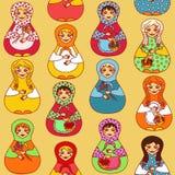 Безшовная картина русского matrioshka кукол Стоковое Изображение RF