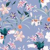 Безшовная картина, светлый год сбора винограда красит листья ладони и розовые лилии, clematis и экзотические тропические цветки г бесплатная иллюстрация