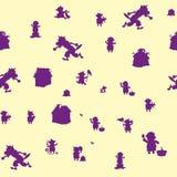 Безшовная картина, 3 свиньи и волк, пурпурный характер на бежевой предпосылке бесплатная иллюстрация