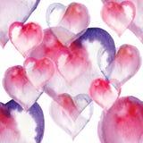 безшовная картина сердец, акварель бесплатная иллюстрация