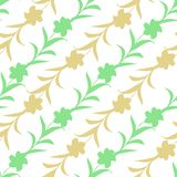 Безшовная картина силуэтов цветка переплетаннсяых на белой предпосылке Пастельный цвет, флористический орнамент иллюстрация штока