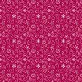 Безшовная картина символов рождества и Нового Года на красном цвете также вектор иллюстрации притяжки corel иллюстрация штока