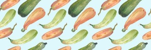 Безшовная картина сквоша акварели тыквы с естественными иллюстрациями на бумаге Стоковые Изображения RF