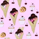 Безшовная картина сладостного торта, мороженое и шоколад свертывают иллюстрация штока