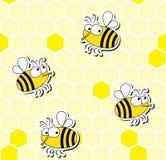 Безшовная картина смешных пчел Стоковое Изображение