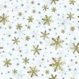 Безшовная картина снежинки с влиянием покрытым золотом для Wrappi бесплатная иллюстрация
