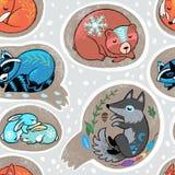 Безшовная картина собрания венка рождества с slepping животными Дизайн зимы руки вычерченный иллюстрация штока
