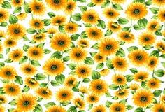 Безшовная картина солнцецветов на белой предпосылке иллюстрация вектора
