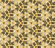 Безшовная картина состоя из геометрических элементов аранжировала на желтой предпосылке Стоковое Изображение