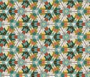 Безшовная картина состоя из геометрических элементов аранжировала на зеленой предпосылке Стоковые Изображения RF