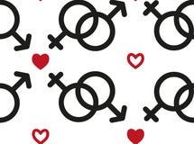 Безшовная картина со значками мужского и женского секса Элементы на день Валентайн с символами сердца, цепями с символами иллюстрация вектора