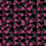 Безшовная картина со свеклами руки вычерченными розовыми на черном фоне бесплатная иллюстрация