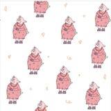 Безшовная картина со свиньей бесплатная иллюстрация