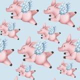 Безшовная картина со свиньями с крыльями Piggy летание ангела в небе на сини иллюстрация штока