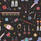 Безшовная картина со стильными деталями на черной предпосылке - серьгами ювелирных изделий, чокеровщиком, браслетом, фибулой, дра стоковое изображение