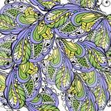 Безшовная картина стилизованных пер Винтажный безшовный орнамент фиолетовый и желтый Декоративный фон орнамента для ткани иллюстрация штока