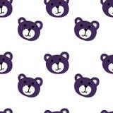 Безшовная картина стороны медведя милого шаржа красочной на белой предпосылке Стоковые Фото
