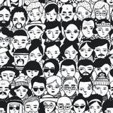 Безшовная картина сторон людей, женщины и человека толпы различных Девушки и парни портретов Doodle модные ультрамодно бесплатная иллюстрация