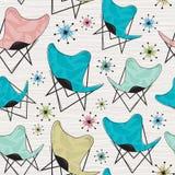 Безшовная картина стула бабочки Стоковая Фотография RF