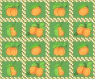 Безшовная картина с абрикосами Стоковое Изображение