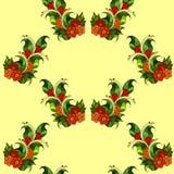 Безшовная картина с абстрактными ветвями с цветками вектор Стоковая Фотография