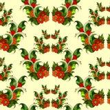 Безшовная картина с абстрактными ветвями с цветками вектор Стоковое Изображение