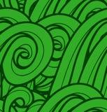 Безшовная картина с абстрактными зелеными волнами. Стоковые Фото