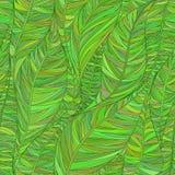 Безшовная картина с абстрактными линейными листьями в тенях зеленого цвета Стоковые Изображения RF