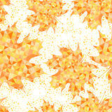 Безшовная картина с абстрактными кленовыми листами крупный план предпосылки осени красит красный цвет листьев плюща померанцовый иллюстрация штока