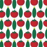 Безшовная картина с абстрактными овощами Иллюстрация от томата и огурца бесплатная иллюстрация