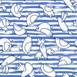 Безшовная картина с абстрактными птицами на striped предпосылке Простая линия дизайн Смешные чайки в морском стиле Стоковые Изображения RF